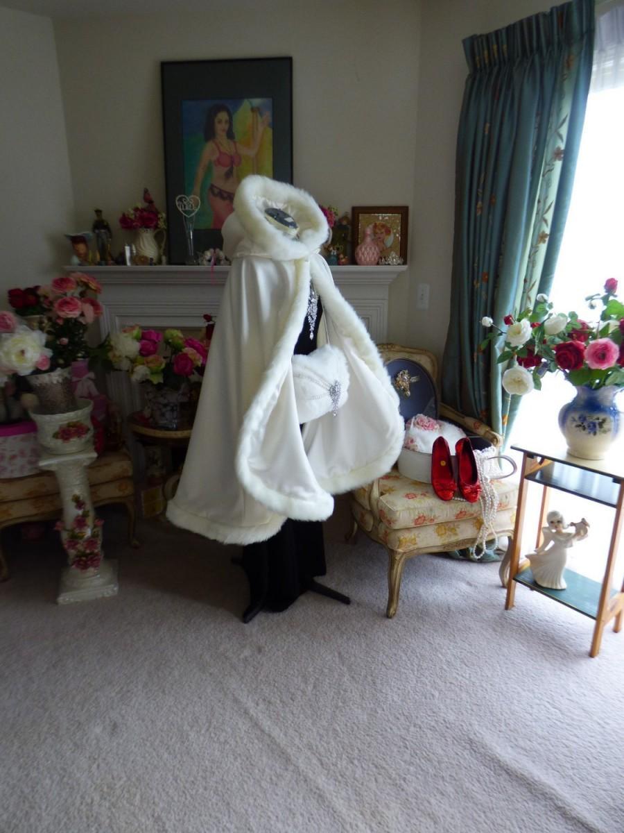 Свадьба - Bridal Cape Medium-length-cape 37-inch Ivory / Ivory Satin with Fur trim Wedding Cloak Handmade in USA