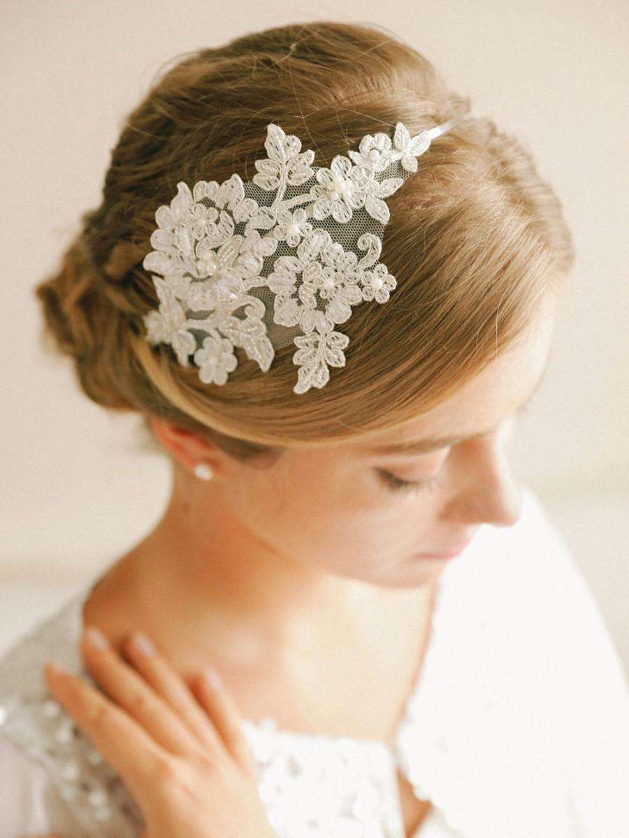 Свадьба - Silver lace headband, bridal lace headand, wedding headpiece, wedding hair - style 241