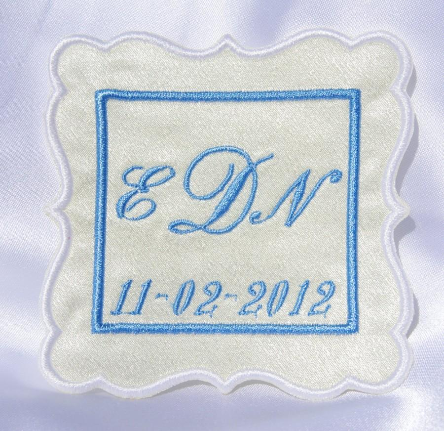 Свадьба - Personalized Label  square  Satin by Natalia Sabins Custom Embroidered bridal shower gift