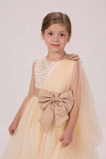 Düğün - Beautiful Champagne Gold Flower Girl Tutu Dress beaded Ivory Satin Bodice and Satin Champagne Bow