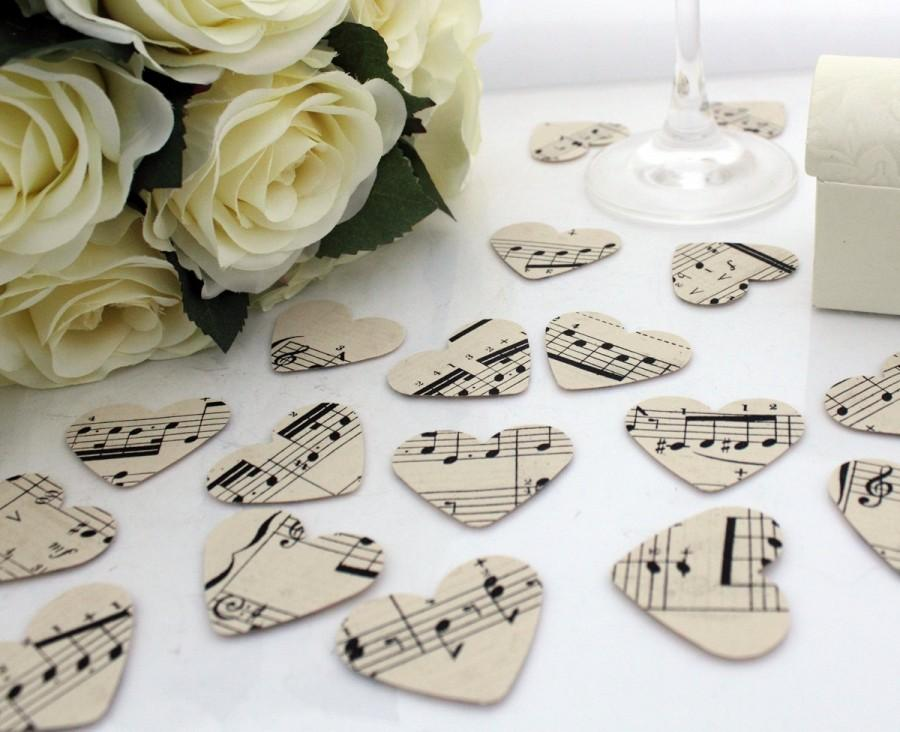 Свадьба - Paper heart wedding confetti- 200 vintage sheet music die cut punched hearts 3.5cm by 3cm- Great romantic Valentines table decoration