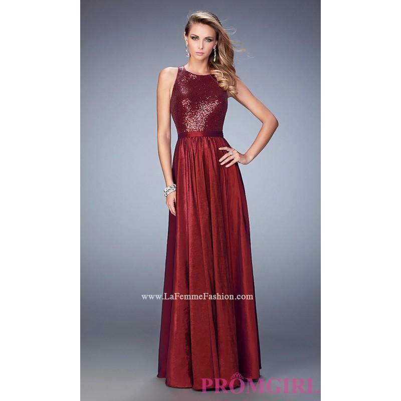 Sequined Bodice Long La Femme Open Back Prom Dress - Discount ...
