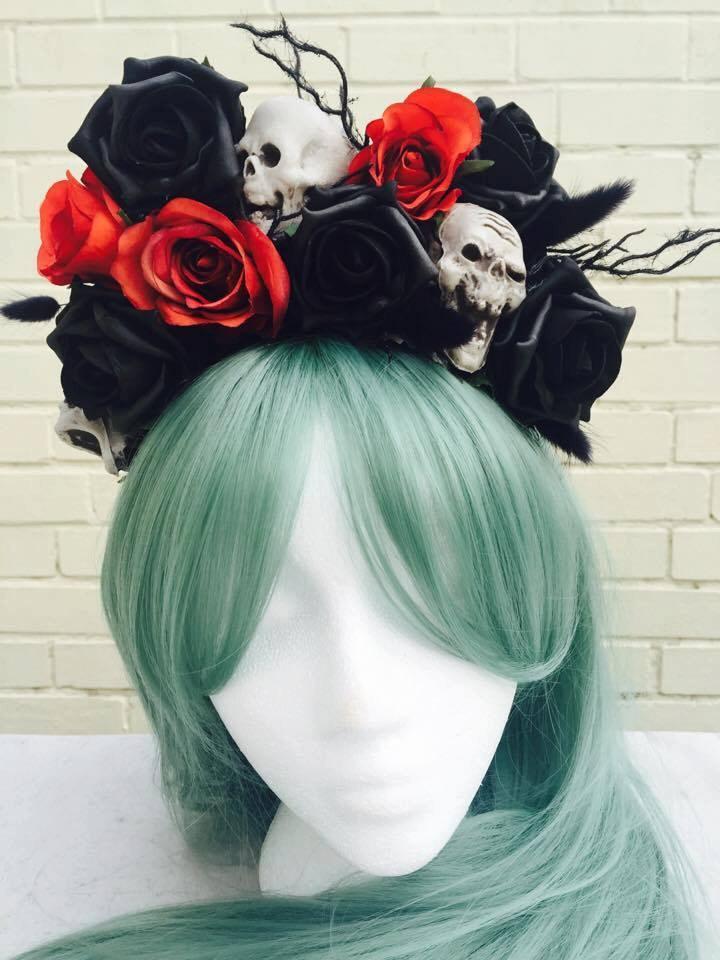 halloween terracotta orange black rose pin up day of the dead skull flower crown