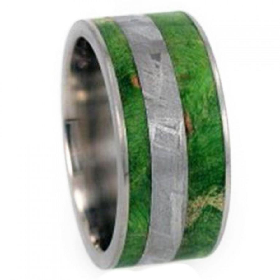 Hochzeit - Meteorite Ring, Mens Wood Wedding Band, Titanium Ring With Green Box Elder Burl Inlay
