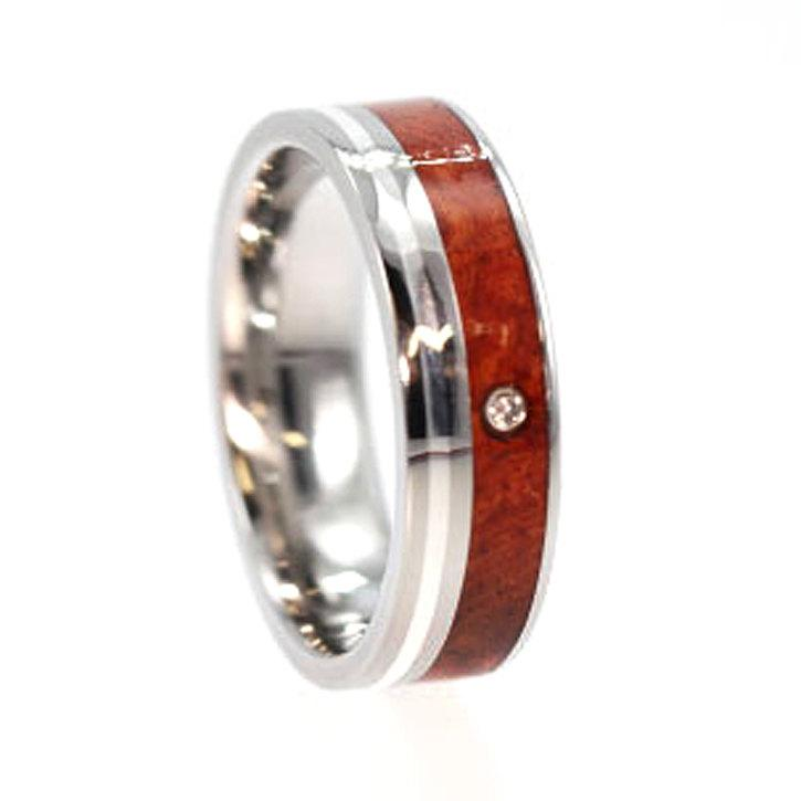 Hochzeit - Diamond Wedding Band With A White Gold Pinstripe, Titanium Ring With Amboyna Burl, Alternative Wood Engagement Ring