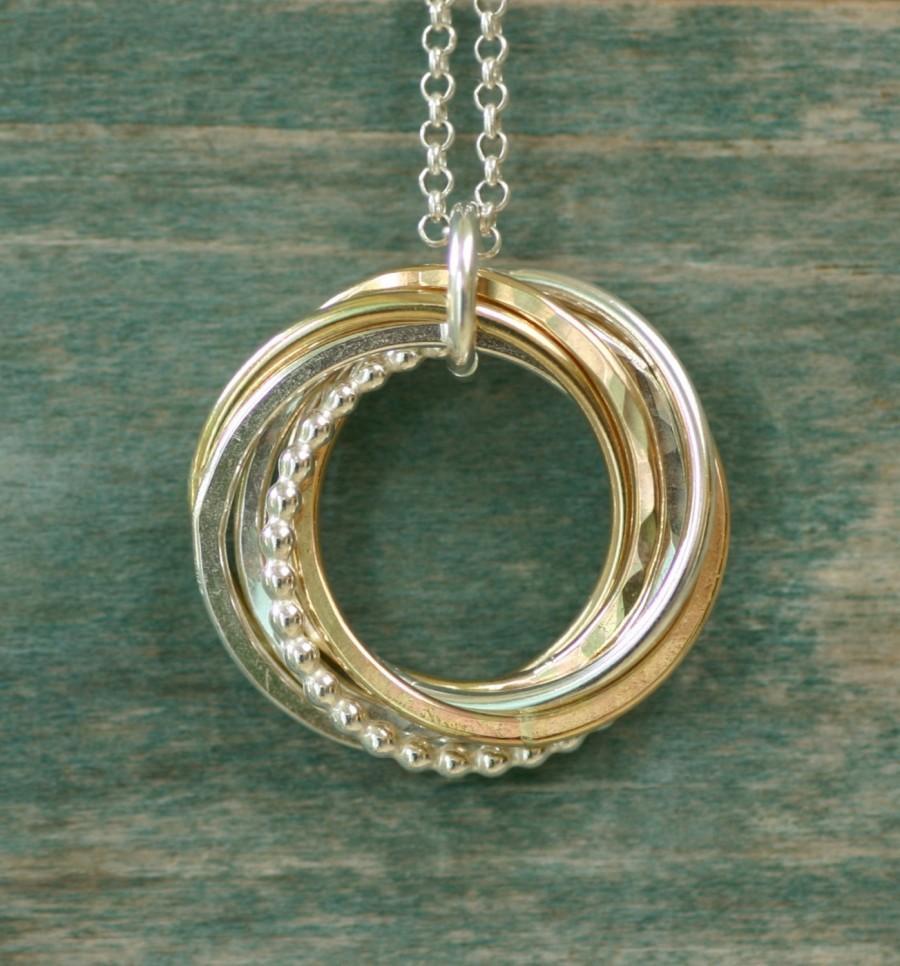 زفاف - Mother of the groom gift for mom necklace, family of 7 interlocking rings necklace for grandma gift for 7th anniversary gift - Lilia
