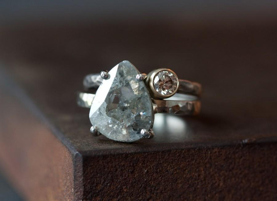 Mariage - Custom Natural Silver-Clear Diamond Slice Ring