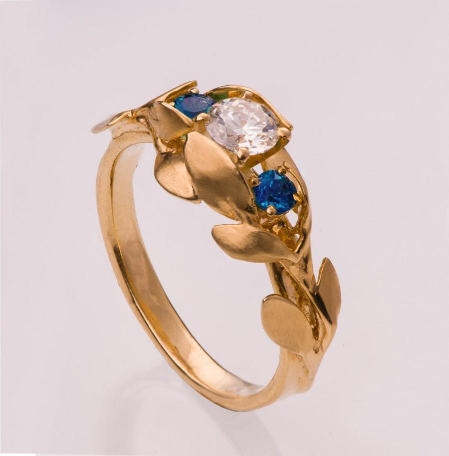 Hochzeit - Leaves Engagement Ring No. 8 - 14K Gold and Diamond engagement ring, 3 Stone Ring, Three stone ring, engagement ring, leaf ring, sapphire