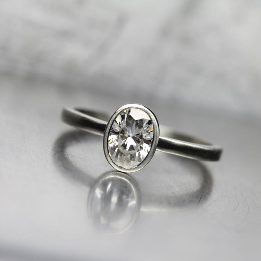 Delicate Oval Moissanite Engagement Ring 14k White Or Yellow Or Rose Gold  Classic Modern Minimalistic Forever Brilliant Zen  Ovoidal Clear