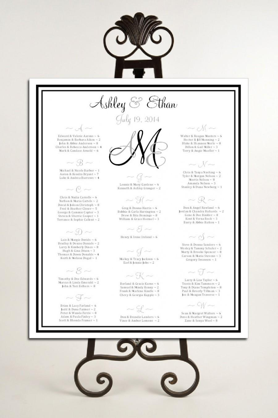 Mariage - Monogram Seating Chart for Wedding Table Assignments for your Wedding Reception - Printable PDF - monogrammed File