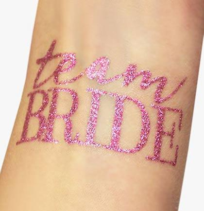 Mariage - Team Bride Bachelorette Party Favor : Pink Glitter,  Bachelorette Party Tattoos , Bachelorette Favors, Bachelorette Temporary Tattoo