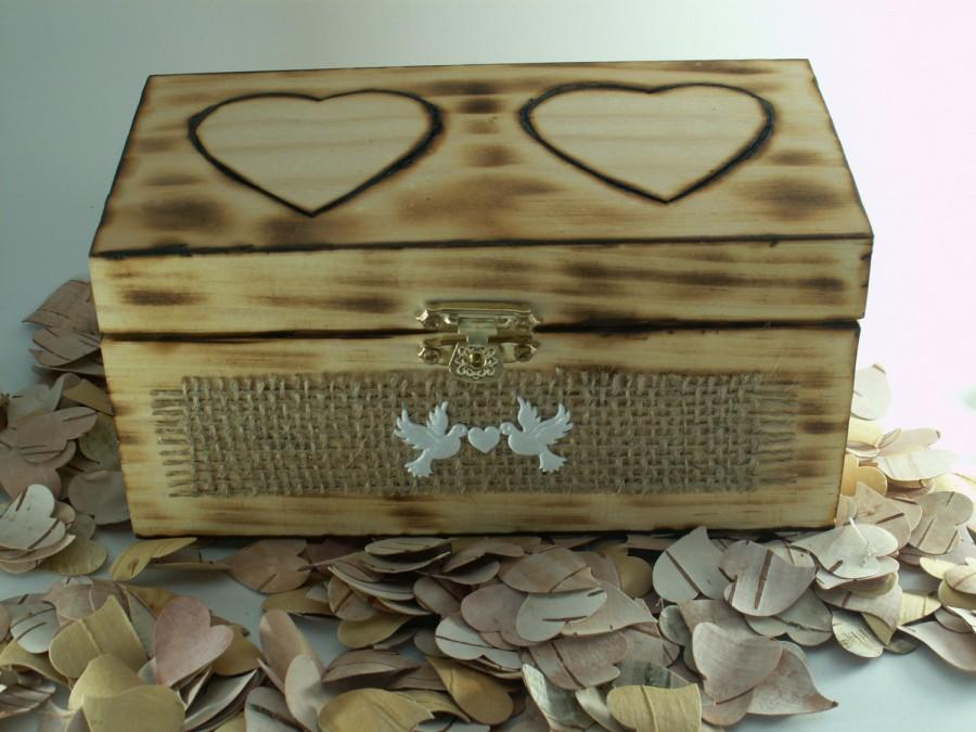 Свадьба - Rustic Wooden Box-Wedding -BURLAP-Wood Burned Box