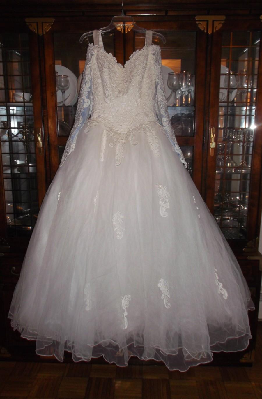 زفاف - Exquisite (White) Princess Wedding Gown (OFF THE SHOULDER) With Detachable Train