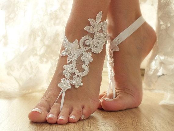 Wedding - Free Ship Original Design White or ivory, champagne, black, pink, blue, lace barefoot sandals , Flexible Beach wedding barefoot sandals