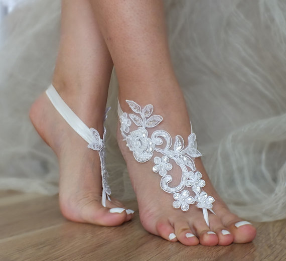 Hochzeit - Flexible wrist lace sandals White ivory lace barefoot sandals Beach wedding barefoot sandals, barefoot, ivory barefoot sandals, sandal