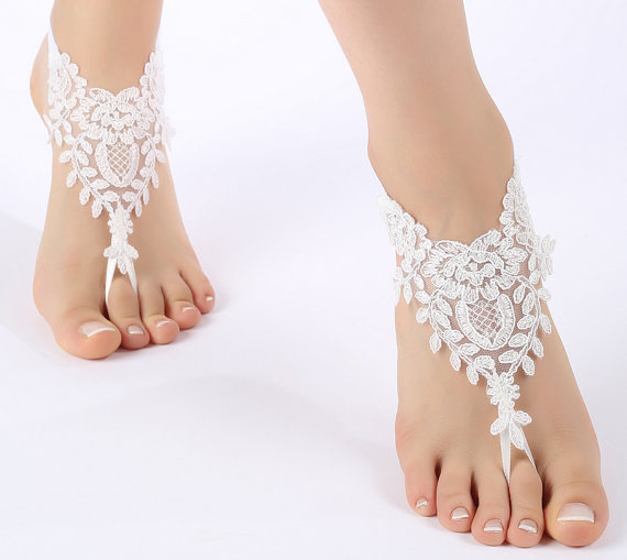 Wedding - Free Ship off white or gold frame, flexible ankle sandals, laceBarefoot Sandals, french lace, Beach wedding barefoot sandals