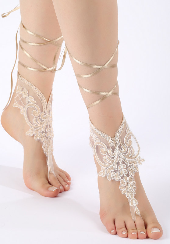Wedding - Free ship champagne ivory lace Barefoot Sandals, french lace, shoes, Gothic, Wedding, beach wedding barefoot sandals
