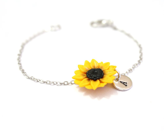 Wedding - Sunflower Bracelet, Personalized Silver Disc, Couple's Initials, Monogram Charms , Mother Jewelry, Silver Personalized, Sterling Silver