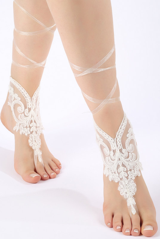 Wedding - Beach wedding barefoot sandals FREE SHIP embroidered sandals, ivory Barefoot , french lace sandals, wedding anklet,
