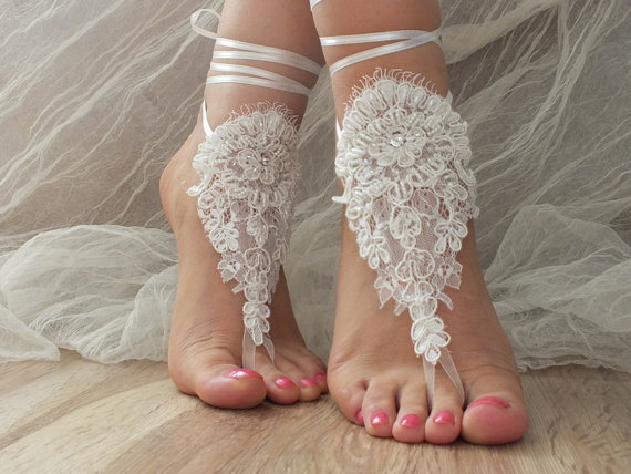 Wedding - Free Ship ivory lace barefoot sandals , lace sandals Beach wedding barefoot sandals ,