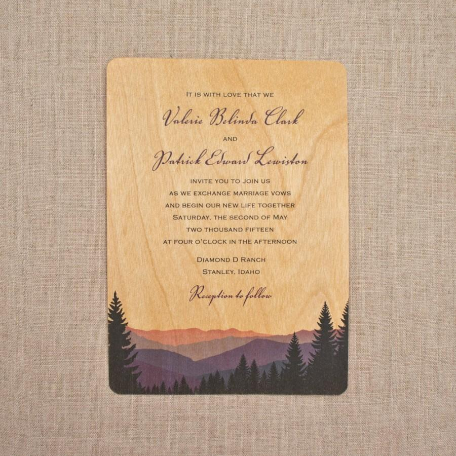 real wood wedding invitations smoky mountains - Wood Wedding Invitations
