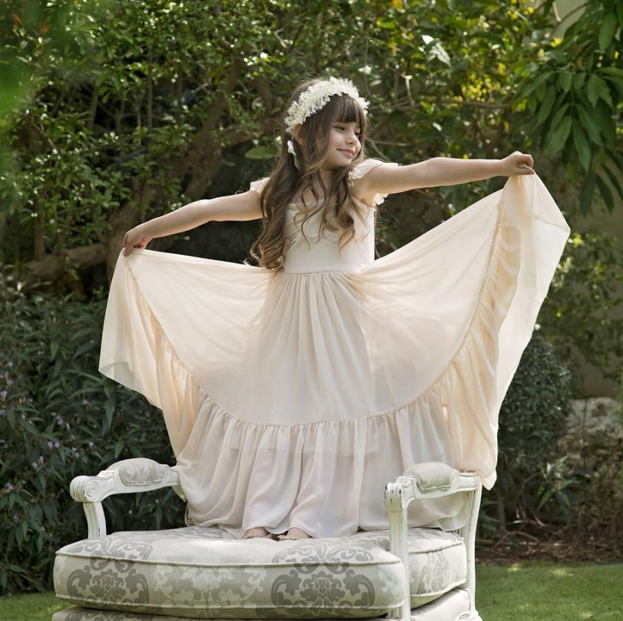 """Wedding - Ivory Flower Girl Dress Lace and Chiffon - The """"Rebekah"""" in Natural"""