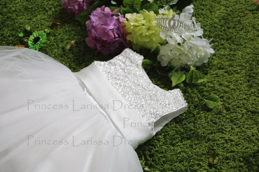 Wedding - Beads Top Ivory Flower Girl Dress, Baby Pageant Dress, Toddlers Easter Dress PD079-2