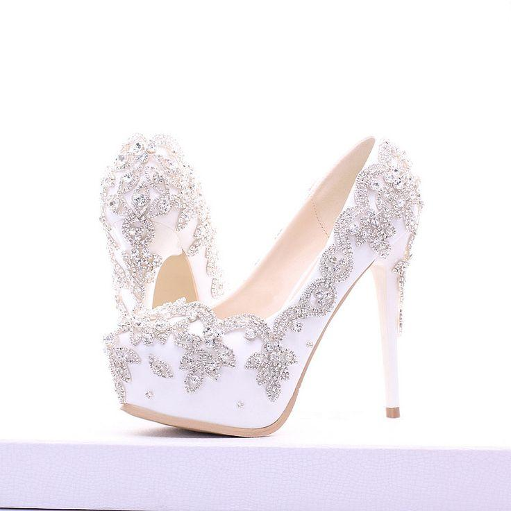 white silver rhinestone wedding prom shoes 2594904 weddbook