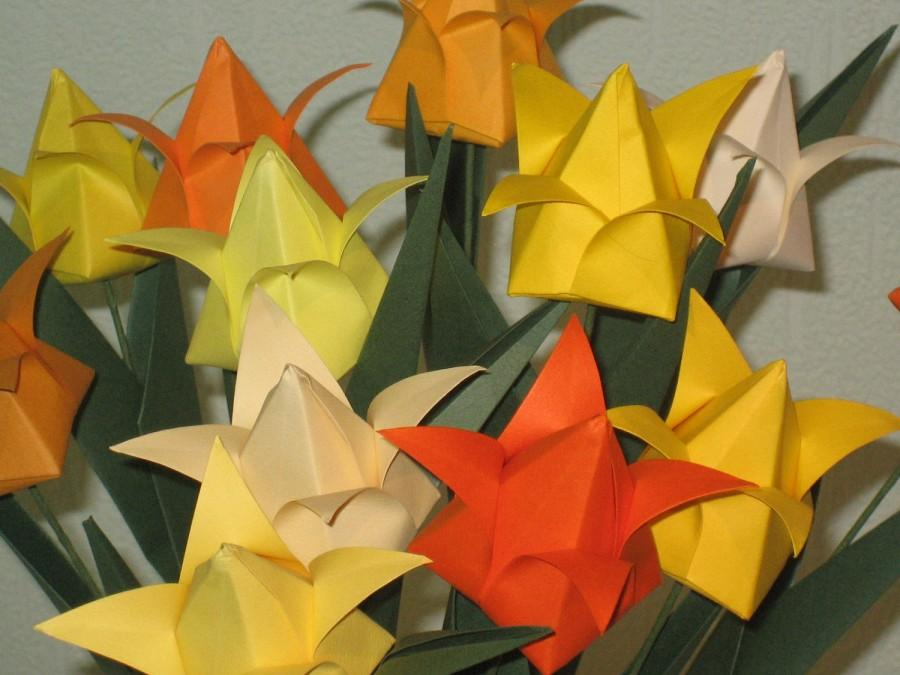 زفاف - Tulips - Shades of yellow - Origami Flower Arrangement
