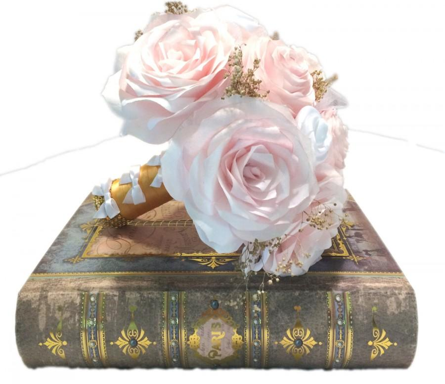 Свадьба - Blush Bridal bouquet, Peony paper wedding bouquet, Made in colors and size of your choice, Shabby chic gold and blush bouquet, Throw bouquet