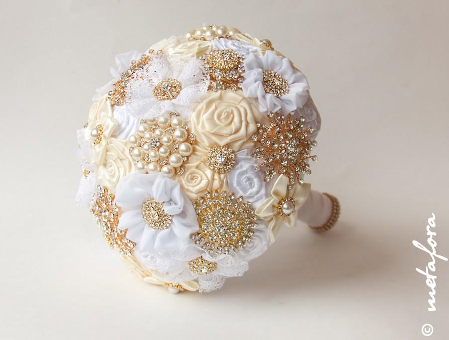 Свадьба - SALE!!! Brooch Bouquet. Gold Ivory Fabric Bouquet, Unique Wedding Bridal Bouquet