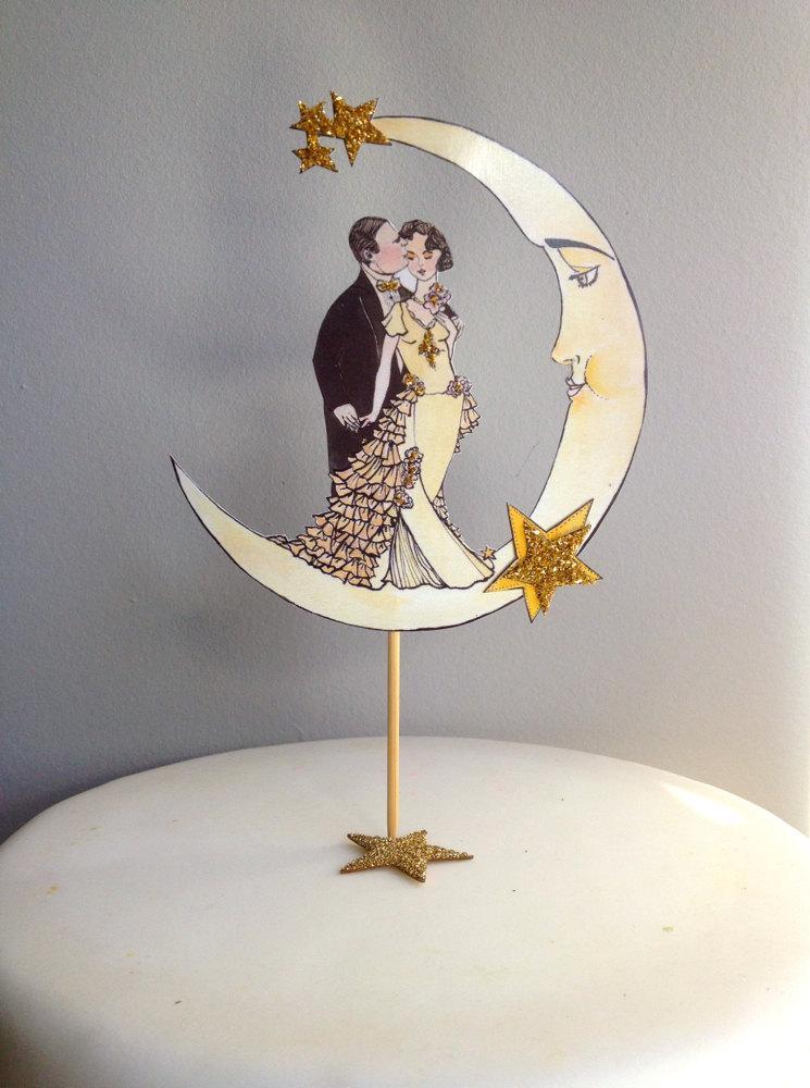 Свадьба - Glitter Wedding Cake Topper - Glitter 14 Karat Gold - Art Deco Moon Cake Topper - Bride and Groom