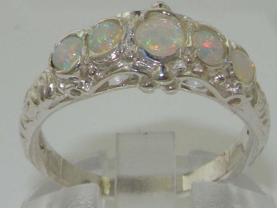 زفاف - Solid 925 Sterling Silver Natural Colorful Fiery Opal Antique Deco Ring, English Unique Vintage Scroll Design Band - Customize: 14K,18K