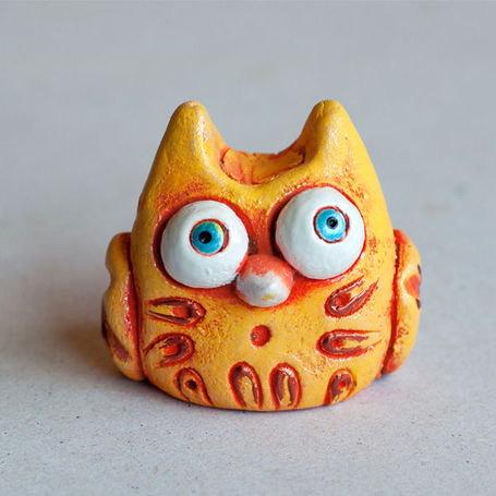 Owl Clay Figurine Pottery Toy Owl Figurine Gift Kids Owl Clay Owl Toy Owl  Clay Doll Owls Miniature Garden Figure Yellow Owl Cute Owl