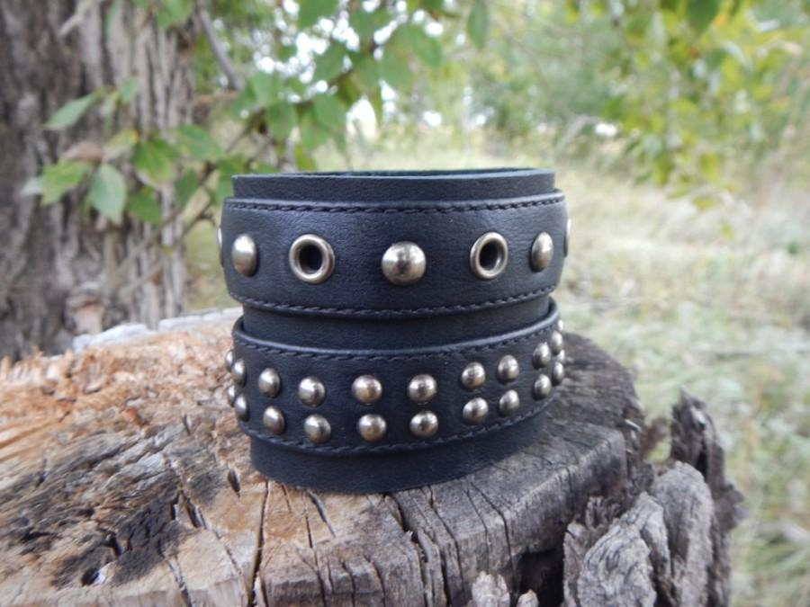 Leather Black Wide Bracelet Rocker Mens Bracelets With Studs For Women