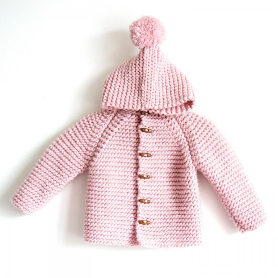 96c4291a2bb9 Hand Knitted Baby Toddler Boy Or Girl Wool Hoodie Cardigan Jacket ...