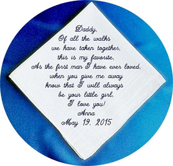 Wedding - Father of the Bride Wedding Handkerchief, Personalized Elegant Heirloom Keepsake Handkerchief