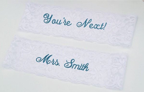 Mariage - Wedding Garter, Bride's Garter, Personalized, Custom, Embroidered Monogram Lace Garter