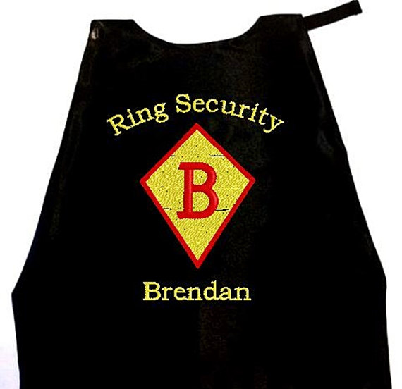 Wedding - Super Hero Cape Ring Bearer Diamond Embroidered Ring Security Cape Personalized Wedding Photo Op