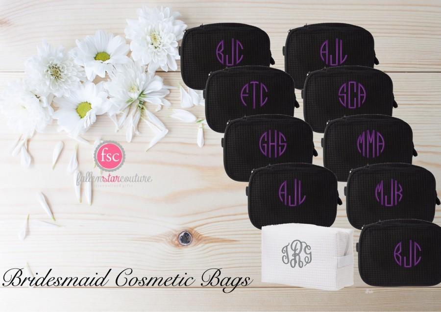 Mariage - Set of 11 bridesmaid makeup bags , bridesmaid accesory bags, monogrammed bag, wedding bag , bridesmaid gifts , personalized bridesmaid gifts