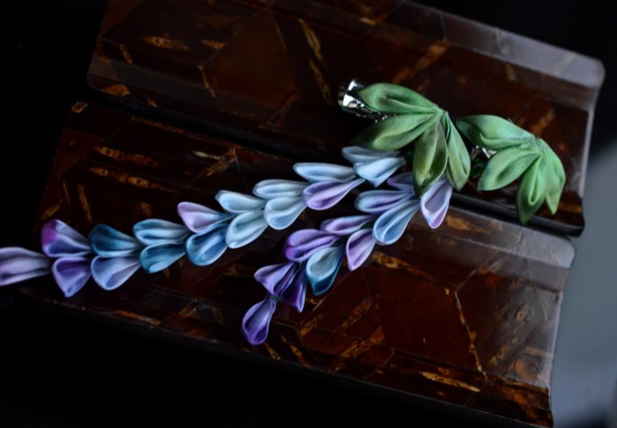 Mariage - Blue Purple Wisteria Kanzashi.  Fujimusume.  Hand dyed Silk hair clip. Made to Order
