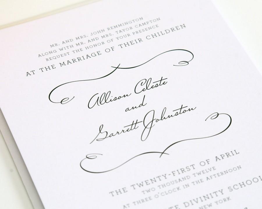 Hochzeit - Wedding Invitation - Woodlands Chic - White Wedding, Romantic, Soft, Vintage Invitation - Sample Set
