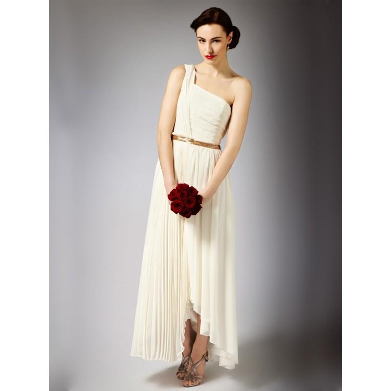 Eine Schulter Griechische Göttin Maxi Länge Hochzeitskleid Mit ...