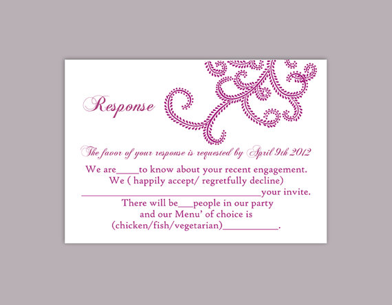 DIY Bollywood Wedding RSVP Template Editable Word File Instant – Party Rsvp Template