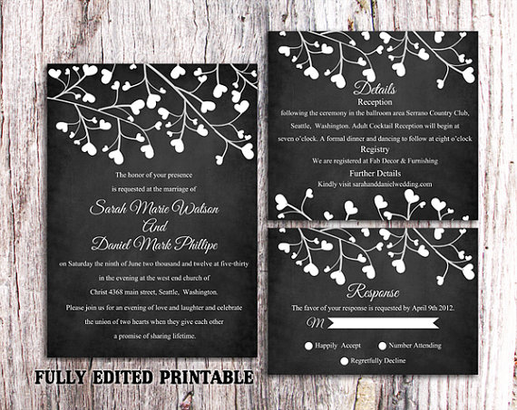 زفاف - Printable Chalkboard Wedding Invitation Suite Printable Invitation Black Invitation Heart Invitation Download Invitation Edited PDF File
