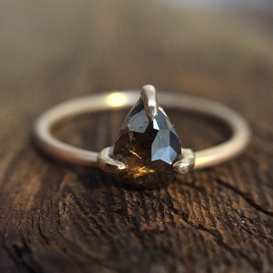 زفاف - Whiskey Brown Claw Set Natural Diamond Ring 14K Size 6