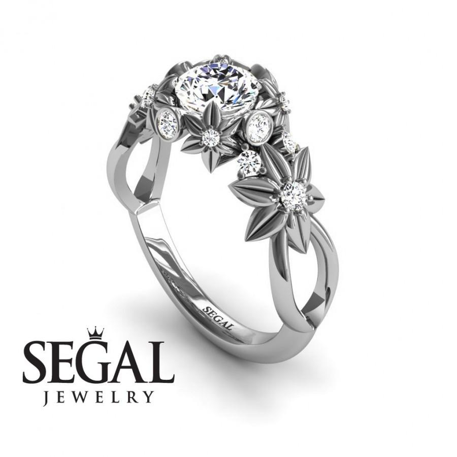 Unique Flower Engagement Ring Diamond Ring 14k White Gold Flowers