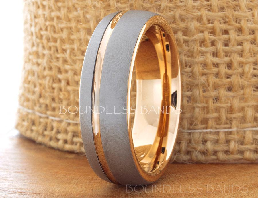 Wedding - Tungsten Ring Rose Gold Wedding Band Ring Tungsten Carbide 7mm 18K Tungsten Ring Man Wedding Band Male Women Anniversary Matching Ring Dome