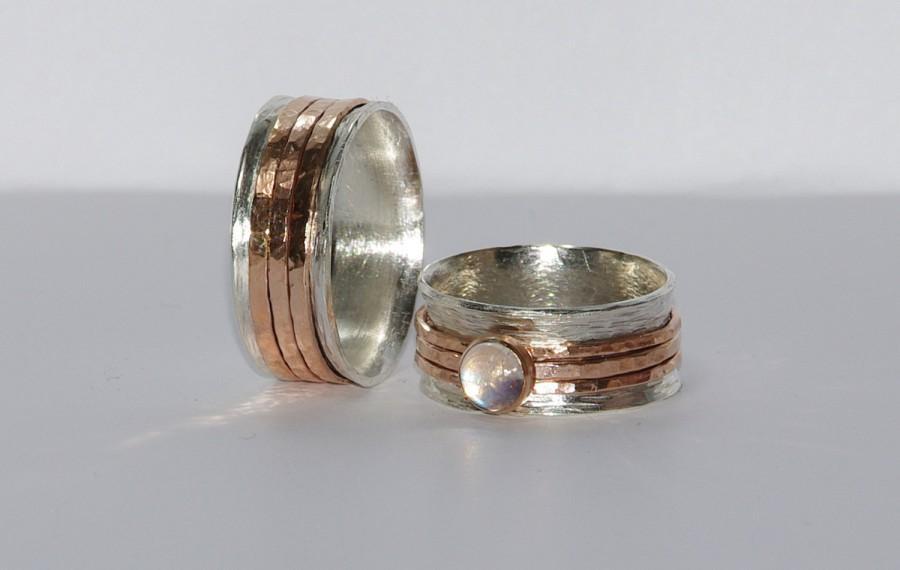 زفاف - Perfect Hammered Bands--His and Hers Silver Wedding Rings--Wedding Band Set--Simple and Unique--Solid Sterling Silver Hammered Bands