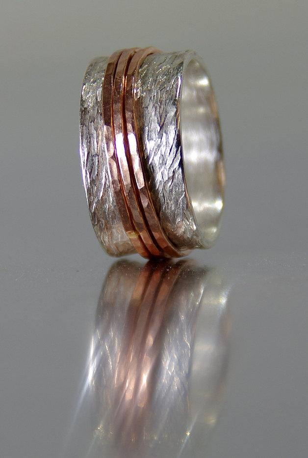 Wedding - Alternative Wedding Rings, Handmade Silver and 14k SOLID Rose Gold Wedding Bands, Eco Friendly, Custom Rings, Alternative Engagement Rings